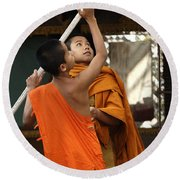 Young Buddhist Monks Laos Round Beach Towel