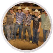 Young Bull Riders Portrait Round Beach Towel