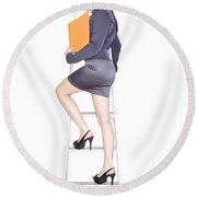 Young Business Woman Climbing The Corporate Ladder Round Beach Towel