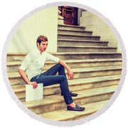 Young Businessman Sitting On Stairs, Relaxing Outside Round Beach Towel