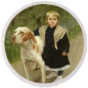 Young Child And A Big Dog Round Beach Towel