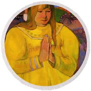 Young Christian Girl 1894 Round Beach Towel