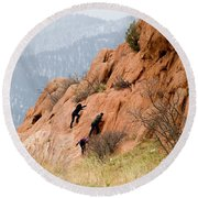Young Climber In Red Rock Canyon Round Beach Towel