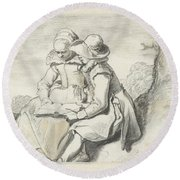 Young Couple Round Beach Towel