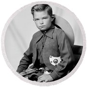 Young Cowboy Sitting Round Beach Towel