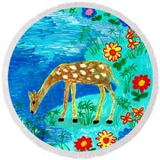 Young Deer Drinking Round Beach Towel