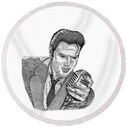 Young Elvis Round Beach Towel