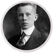 Young Ernest Lawrence Round Beach Towel