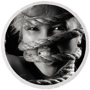 Young Expressive Woman Tied In Ropes Round Beach Towel