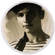 Young Faces From The Past Series By Adam Asar - Asar Studios, No 1 Round Beach Towel