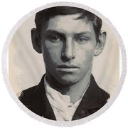 Young Faces From The Past Series By Adam Asar - Asar Studios, No 3 Round Beach Towel