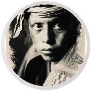 Young Faces From The Past Series By Adam Asar, No 109 Round Beach Towel