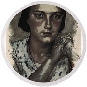 Young Faces From The Past Series By Adam Asar, No 112 Round Beach Towel