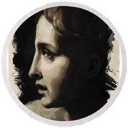 Young Faces From The Past Series By Adam Asar, No 117 Round Beach Towel