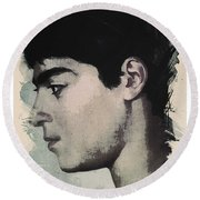 Young Faces From The Past Series By Adam Asar, No 14 Round Beach Towel