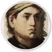 Young Faces From The Past Series By Adam Asar, No 36 Round Beach Towel