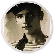 Young Faces From The Past Series By Adam Asar, No 39 Round Beach Towel