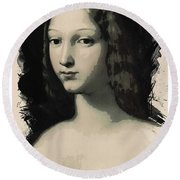 Young Faces From The Past Series By Adam Asar, No 5 Round Beach Towel