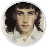 Young Faces From The Past Series By Adam Asar, No 61 Round Beach Towel