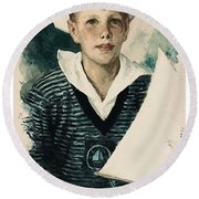Young Faces From The Past Series By Adam Asar, No 66 Round Beach Towel