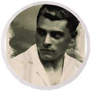 Young Faces From The Past Series By Adam Asar, No 73 Round Beach Towel