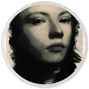 Young Faces From The Past Series By Adam Asar, No 75 Round Beach Towel