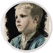Young Faces From The Past Series By Adam Asar, No 77 Round Beach Towel