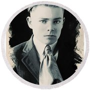 Young Faces From The Past Series By Adam Asar, No 90 Round Beach Towel