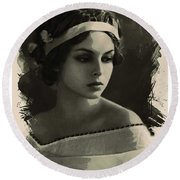 Young Faces From The Past Series By Adam Asar, No 92 Round Beach Towel