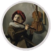 Young Flute Player , Judith Leyster, 1630 Round Beach Towel