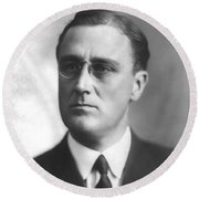 Young Franklin Delano Roosevelt Round Beach Towel by War Is Hell Store