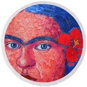 Young Frida Kahlo Round Beach Towel