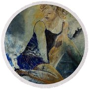 Young Girl 5689474 Round Beach Towel