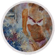 Young Girl  5689652 Round Beach Towel