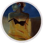 Young Girl  56902140 Round Beach Towel