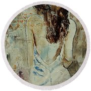 Young Girl  64 Round Beach Towel