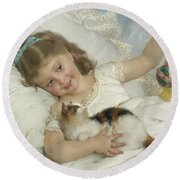 Young Girl And Cat Round Beach Towel