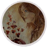 Young Girl And Flowers  Round Beach Towel
