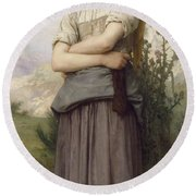 Young Girl, By William-adolphe Bouguereau Round Beach Towel