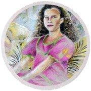 Young Girl From Tahiti Round Beach Towel