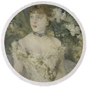 Young Girl In A Ball Gown By Berthe Morisot Round Beach Towel