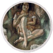 Young Girl In An Armchair Round Beach Towel