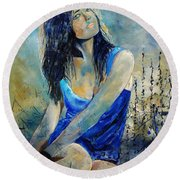 Young Girl In Blue Round Beach Towel