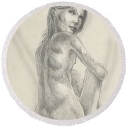 Young Girl In The Sun Round Beach Towel