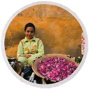 Young Girl Selling Rose Petals In The Medina Of Fes Morroco Round Beach Towel