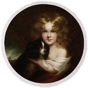 Young Girl With A Dog Round Beach Towel