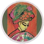 Young Girl With A Flowered Hat By Alexei Jawlensky Round Beach Towel