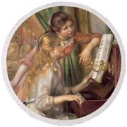 Young Girls At The Piano Round Beach Towel by Pierre Auguste Renoir
