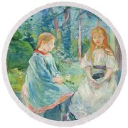 Young Girls At The Window Round Beach Towel by Berthe Morisot