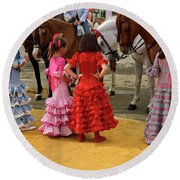 Young Girls In Flamenco Dresses Looking At Horses At The April F Round Beach Towel